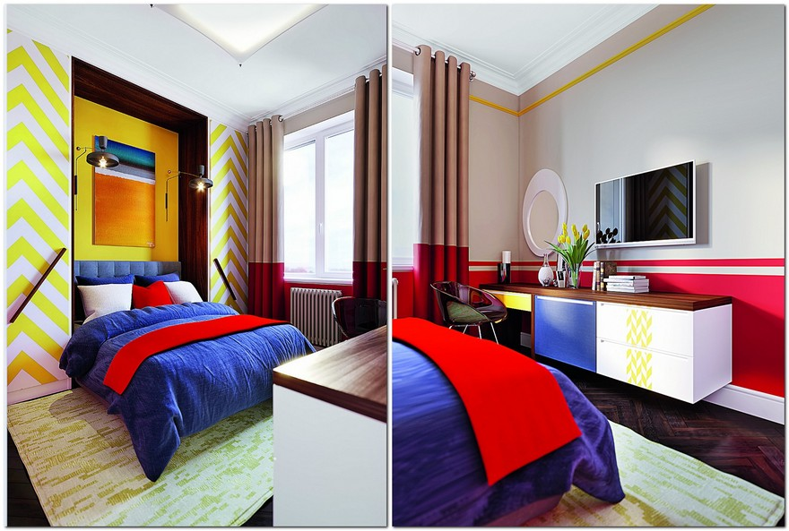 4-interior-in-mid-century-modern-style-pop-art-geometrical-motifs-1950s-master-bedroom-bright-color-multicolor-red-wall-blue-upholstered-bed-bedspread-yellow-wardrobe-doors-herringbone-patterns-dark-countertop-dressing-table