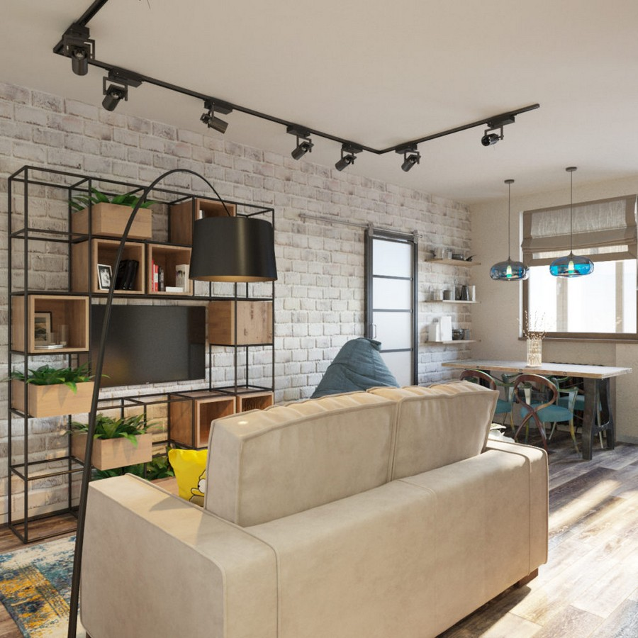 4-loft-style-interior-living-dining-room-black-floor-lamp-beige-sofa-track-lights-wooden-table-metal-shelves-unit-wooden-boxes-storage-TV-re-used-Singer-sewing-machine-table-faux-brick-wall-roman-blinds