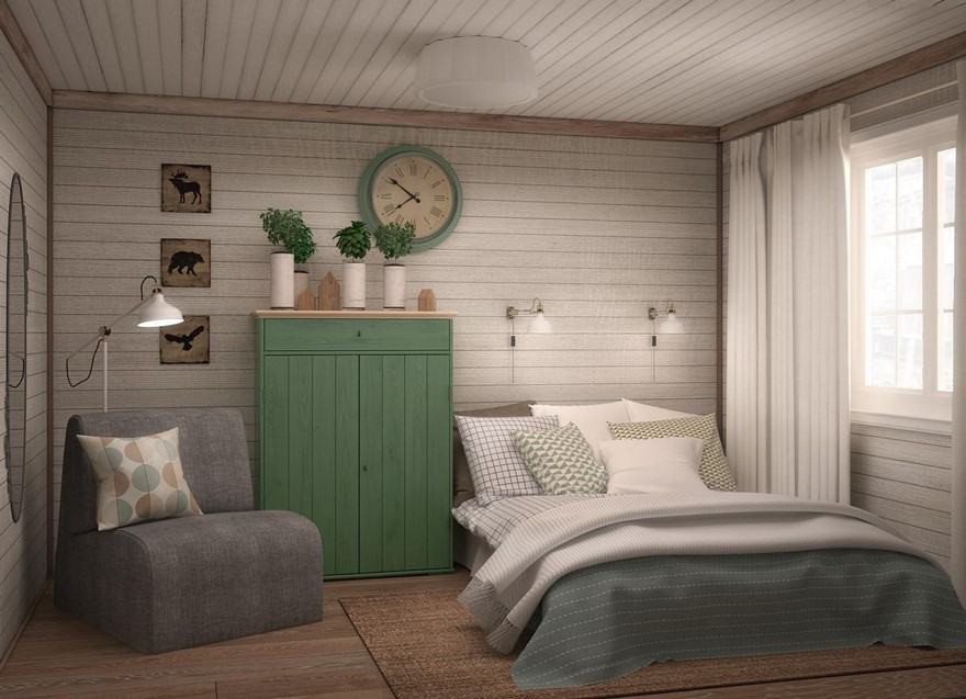4-neutral-Scandinavian-style-interior-log-timber-house-wooden-walls-ceiling-beams-lining-boards-bedroom-folding-arm-chair-double-bed-green-wooden-wardrobe-clock-gray-beige