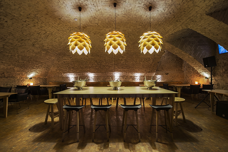 5-1-parka-Moscow-craft-beer-bar-interior-design-loft-Scandinavian-style-motifs-masonry-ceiling-arched-old-bricks-artichoke-shaped-lamps-light-ash-wood-furniture-dining-table-stools-bench