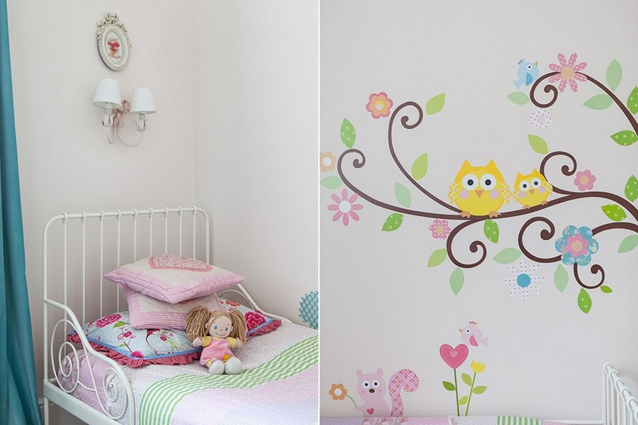 5-2-contemporary-style-interior-kids-toddler-girl's-room-bedroom-metal-wrought-bed-white-wall-colorful-accents-wall-stickers-owl-tree