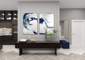 5-gray-and-white-walls-living-room-kitchen-set-entry-open-concept-space-dark-wood-brown-console-two-piece-artwork-abstract-painting-blue-accents-open-racks-herringbone-parquetry-pattern-bi-color