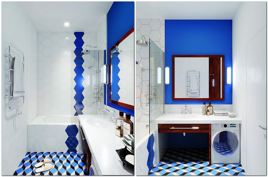 5-interior-in-mid-century-modern-style-pop-art-geometrical-motifs-1950s-bathroom-bright-color-multicolor-blue-and-white-countertop-dark-wood-quartz-white-washing-machine-laundry-small-bathtub-pentagonal-tiles-big-mirror
