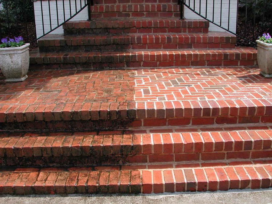 5-steam-cleaning-masonry-brick-stairs-porch- with-high-pressure-vaporized-water-removing-stains-dirt-before-and-after