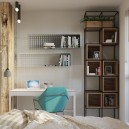 5-work-area-zone-study-desk-in-the-bedroom-blue-chair-perforated-book-shelves-metal-and-wood-shelving-unit-white-walls-timber-wall-log-partition-Venetian-blinds-balcony-exit-small-room-interior-eco-style