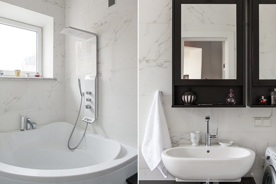 6-1-contemporary-style-bathroom-interior-with-small-window-marble-wall-tiles-corner-bathtub-acrylic-wash-basin-black-mirror-cabinet