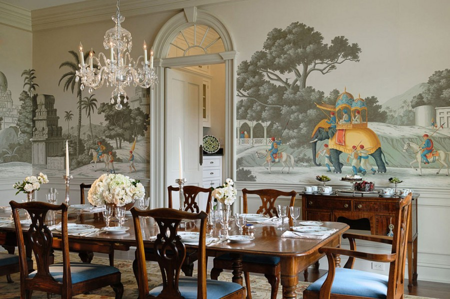 6-1-kitchen-wallpaper-wall-covering-ideas-in-interior-design-wall-mural-Indian-motifs-elephants-dining-room-arched-doorway-transom-crystal-chandelier-wooden-table-classical-style-chairs