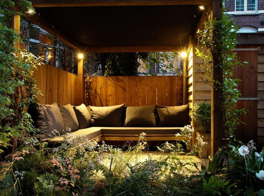6-6-outdoor-garden-landscape-lighting-ideas-house-illumination-gazebo-wooden-bench-throw-pillows