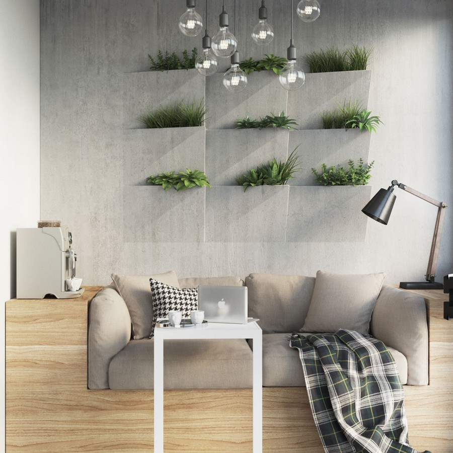 6-contemporary-style-balcony-interior-design-loggia-light-wood-sofa-gray-couch-lounge-cozy-nook-white-laptop-table-coffee-machine-concrete-vertical-garden-wall-flower-pots-self-water