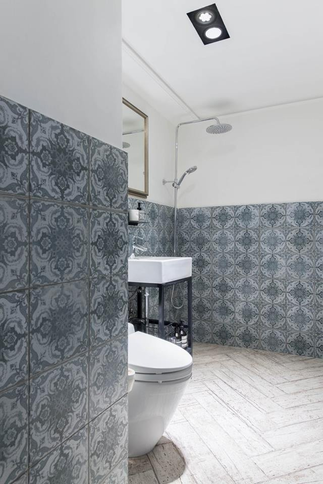6-eclectic-Scandinavian-and-French-style-interior-bathroom-wall-tiles-waterproof-paint-light-green-and-white-tropical-shower-wash-basin-toilet-faux-light-wood-floor-tiles-herringbone-pattern