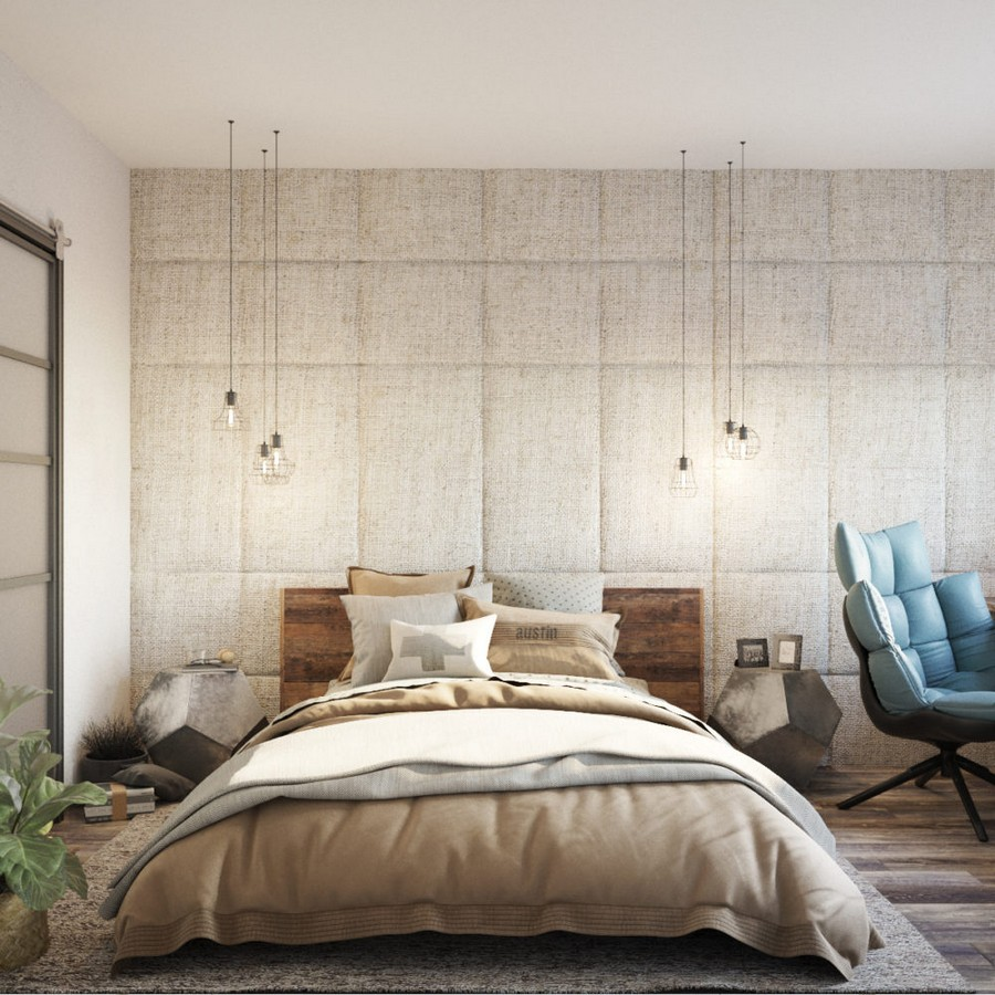 6-loft-style-interior-bedroom-natural-sackcloth-textile-upholstered-wall-beige-wooden-bed-geometric-nightstands-bedside-tables-bulbs-exposed-wires-blue-chair-rug