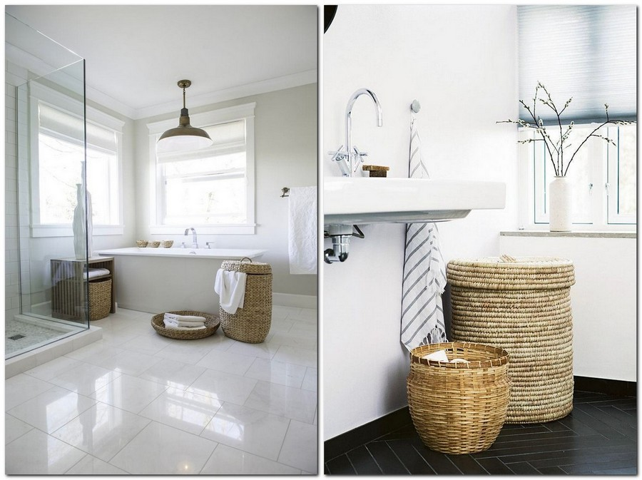 6-white-walled-bathroom-interior-design-wicker-laundry-basket-free-standing-bathtub-two-big-windows-towels-roman-blinds