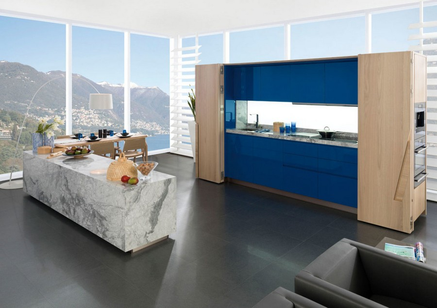 7-Porcelanosa-Grupo-Spain-blue-kitchen-cabinets-set-interior-concealed-secret-light-wood-doors-marble-white-island-panoramic-windows