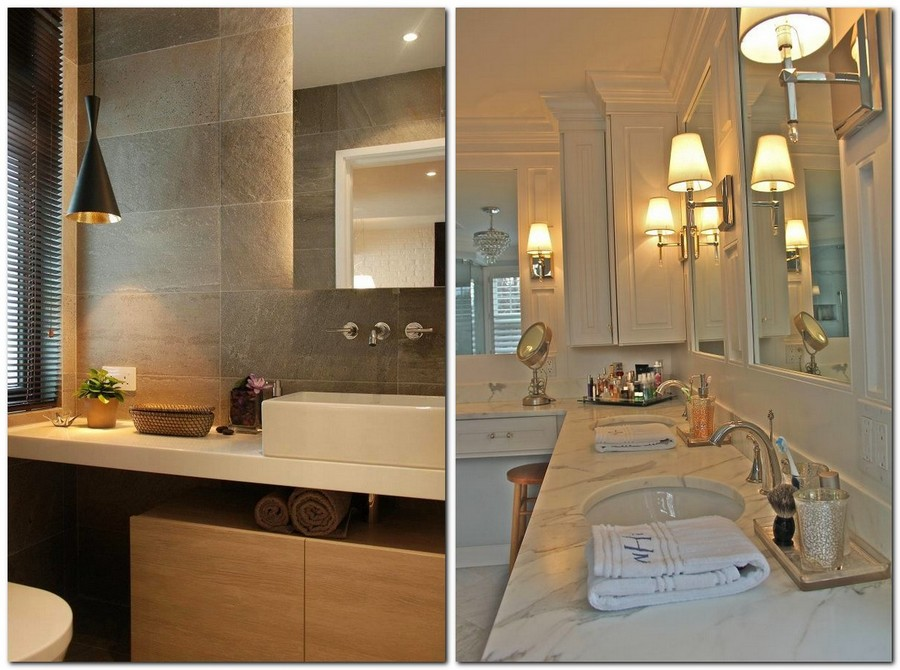 7-warm-cozy-bathroom-interior-design-warm-light-wall-mounted-lamps-sconces-suspended-lamp-big-mirror-white-countertop-towels