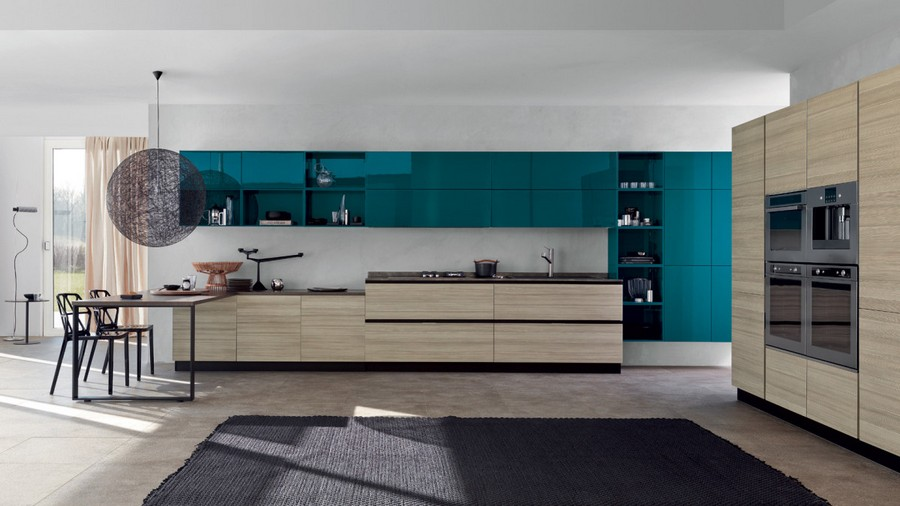 8-Scavoloni-Italy-teal-blue-top-kitchen-cabinets-set-interior-light-gray-wood-bas-cabinets-sleek-glossy-push-to-open-minimalistic-dining-table-lamp-open-racks