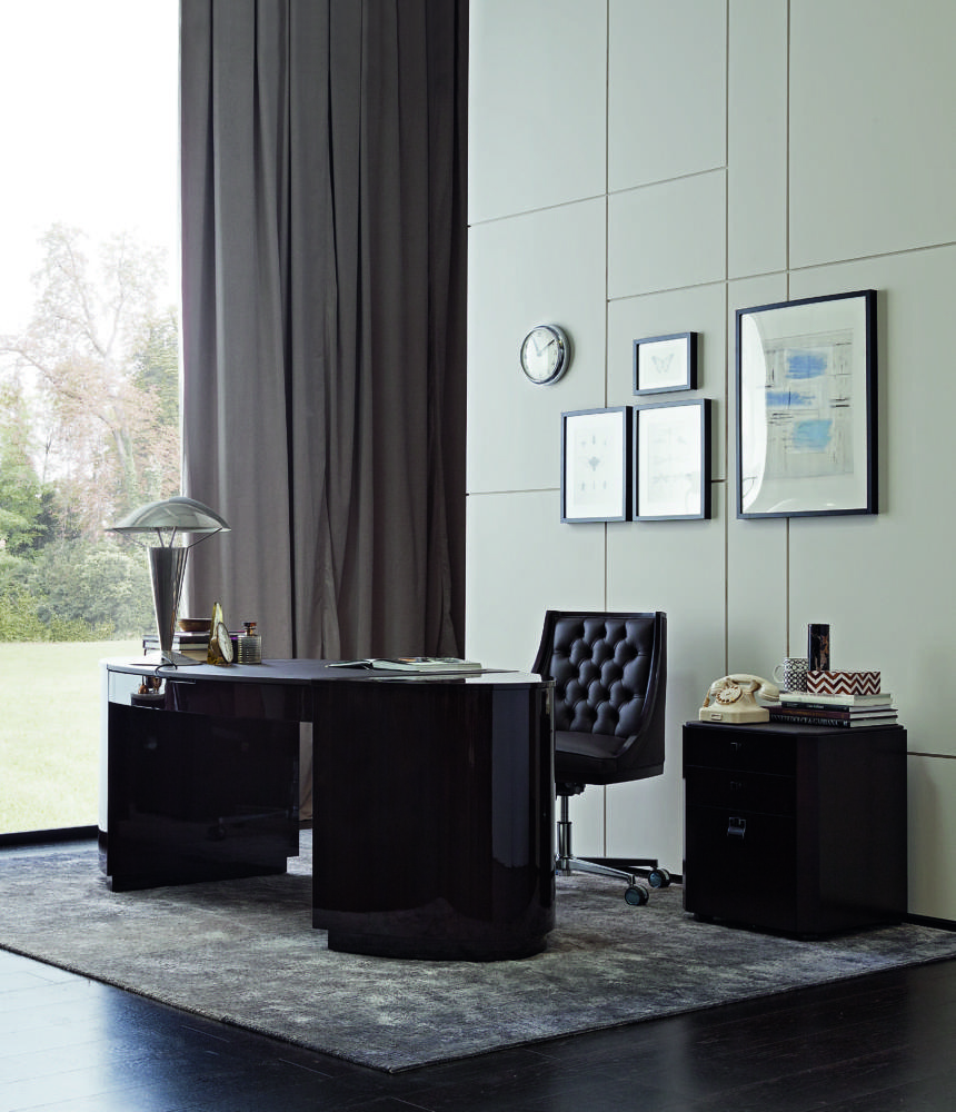 8-art-deco-style-furniture-in-interior-design-unusual-desk-black-glossy-rounded-shape-work-room-study-home-office-high-ceiling-lamp-capitone-wheeled-chair-curtains-rug-Philipp-Selva