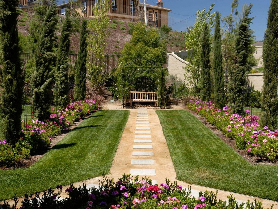 8-garden-path-design-landscape-walkway-symmetrical-thujas-conifers-flower-beds-straight-bench
