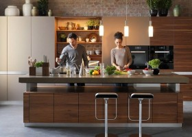 9-natural-solid-wood-kitchen-cabinets-set-interior-design-white-island-open-racks-shelves-contemporary-style-big-black-lamp-gray-wall-mixed-type