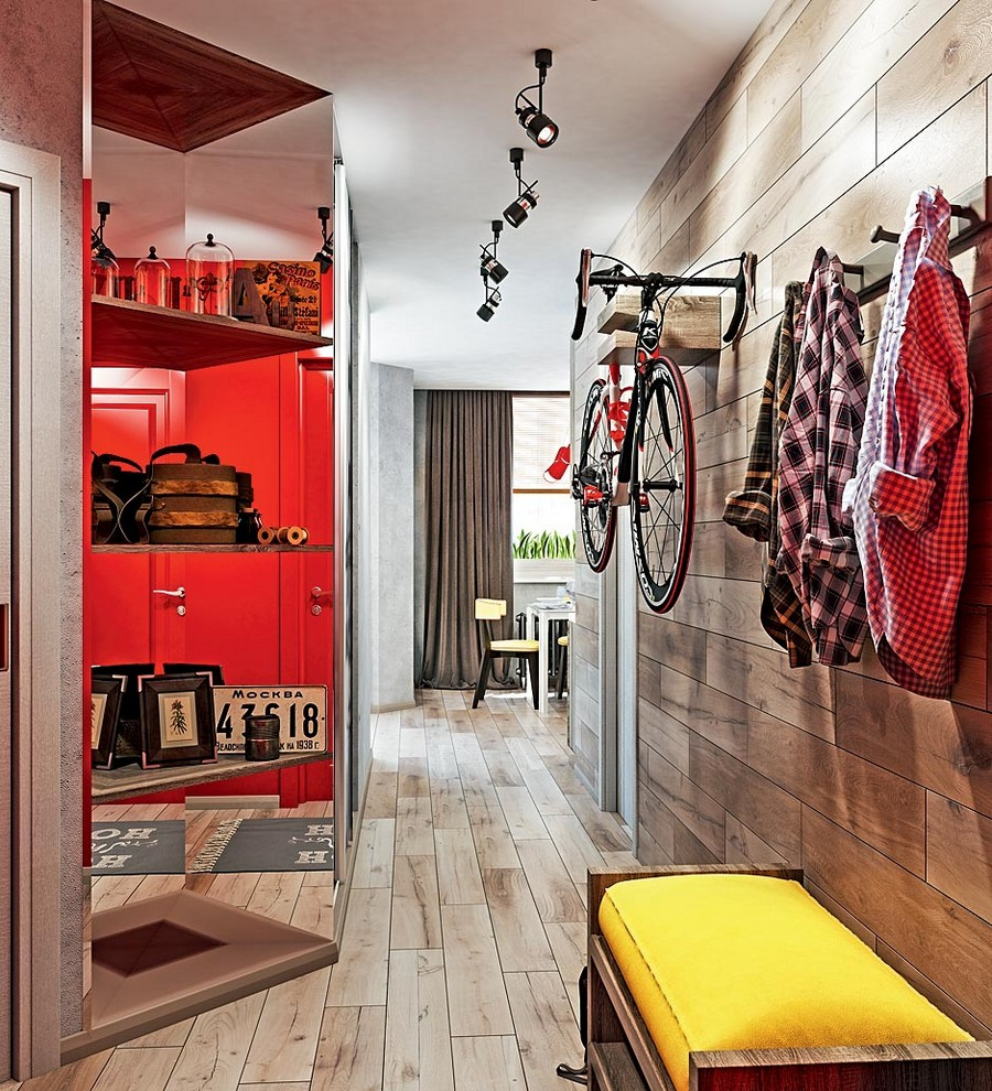 0-industrial-loft-style-bright-interior-design-with-red-and-yellow-accents-entry-hallway-wall-mounted-bicycle-rack-holder-coat-racks-shoe-bench-mirrored-shelving-unit-track-lights-wooden-floor-angled-wall