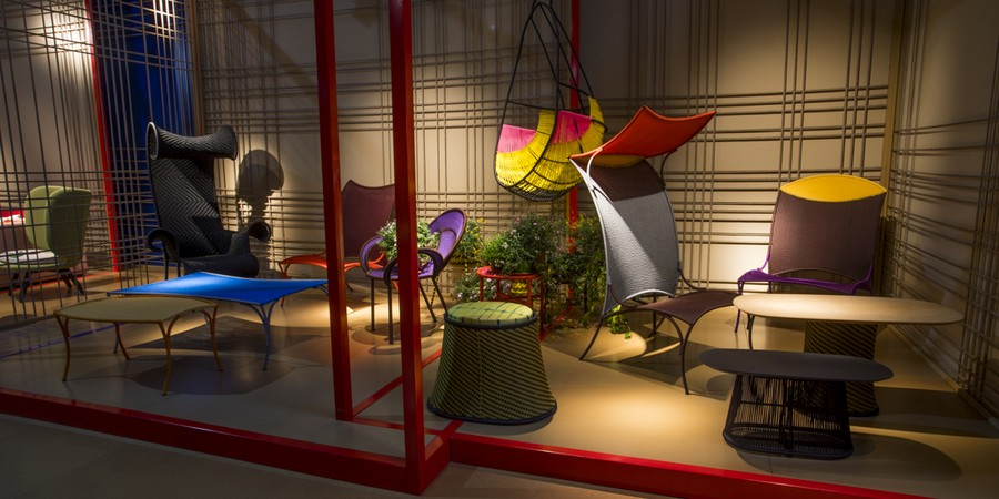 1-1-Moroso-new-collection-of-contemporary-style-furniture-at-Salone-de-Mobile-Exhibition-Milan-2017-multicolored-chairs-yellow-blue-red-garden