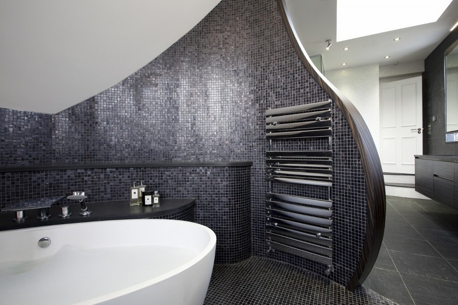 1-1-designer-heated-towel-rail-towel-drier-in-bathroom-interior-design-black-glossy-mosaic-tiles-white-bathtub