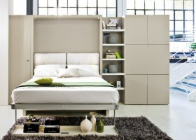 1-2-wall-bed-pull-down-fold-down-convertible-folding-Murphy-bed-wardrobe-closet-beige-shelving-unit-bookshelves-in-interior-design-small-tight-space-one-room-apartment-ideas-studio