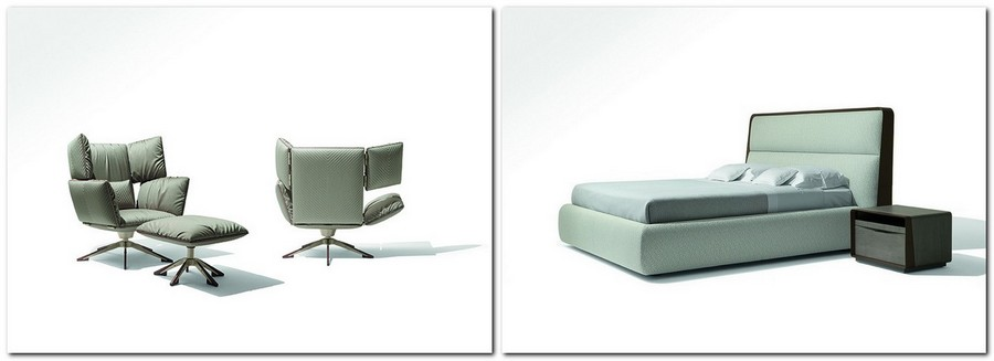1-3-Giorgetti-new-collection-of-contemporary-style-furniture-at-Salone-de-Mobile-Exhibition-Milan-2017-eared-arm-chairs-upholstered-bed-nightstand-powder-green-gray