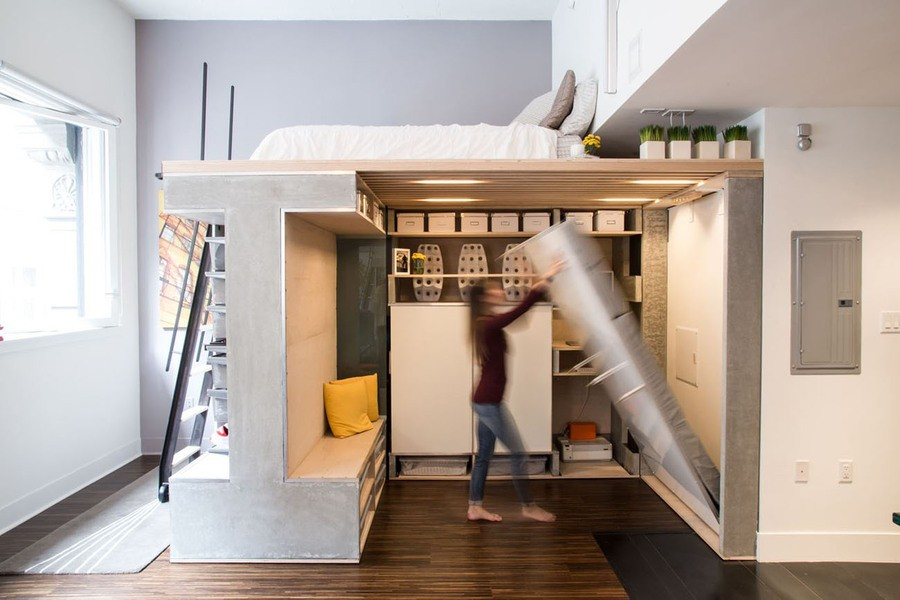 Hideaway foldable convertible beds 20 ideas for small Small loft apartment design