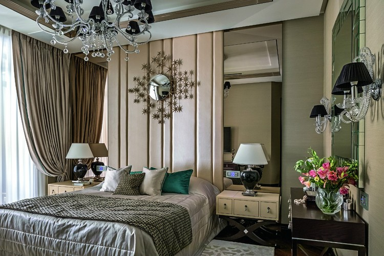 1-bedroom-interior-design-contemporary-style-beige-and-brown-geometrical-nighstands-black-bedside-lamps-wall-sconces-drapery-elegant-round-sun-mirror-full-length-mirrors-at-bed-sides-rug