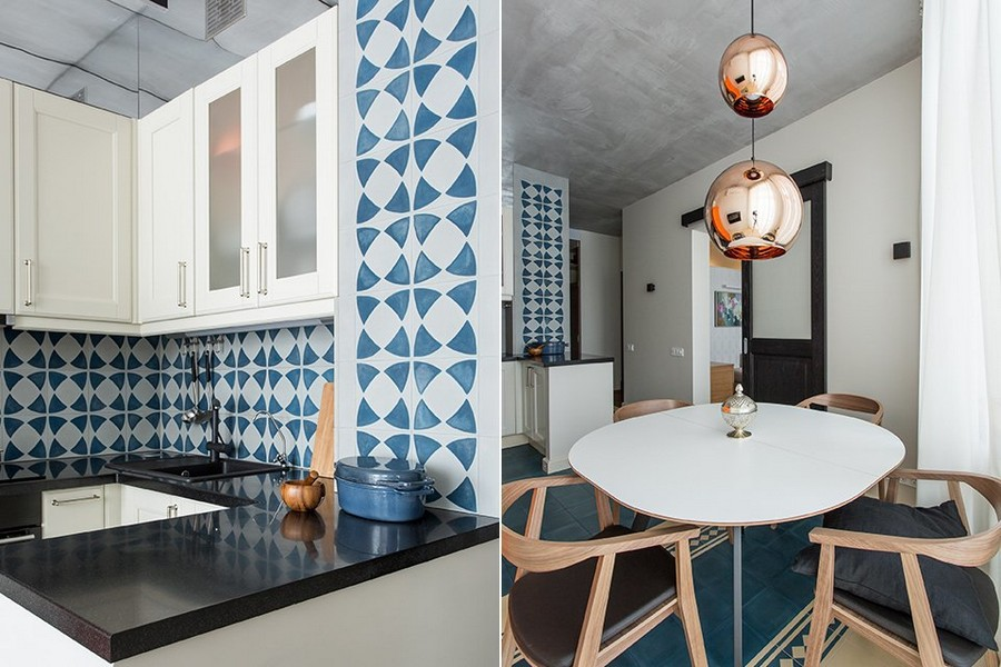 1-kitchen-interior-design-blue-and-white-concrete-wall-tiles-backsplash-geometrical-pattern-black-countertop-worktop-white-natural-wood-cabinets-dining-area-round-table-wooden-chairs-set-metal-suspended-lamp