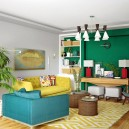 1-1-living-room-lounge-eclectic-mixed-style-Middle-Century-Modern-American-contemporary-interior-design-green-gray-walls-blue-yellow-sofas-wicker-arm-chair-coffee-table-lamps-console-red-accents-cheerful-bright
