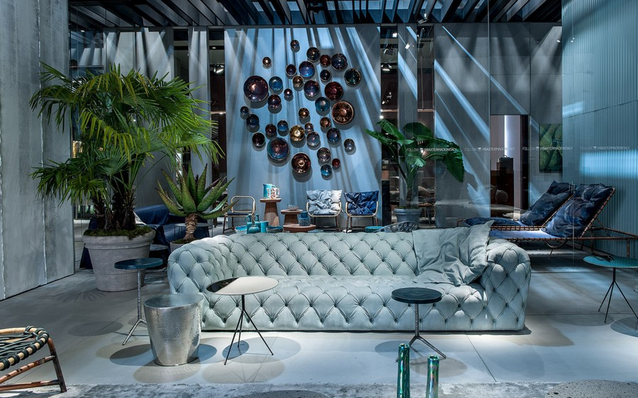 10-1-Baxter-new-collection-of-contemporary-style-furniture-at-Salone-de-Mobile-Exhibition-Milan-2017-light-blue-capitone-sofa