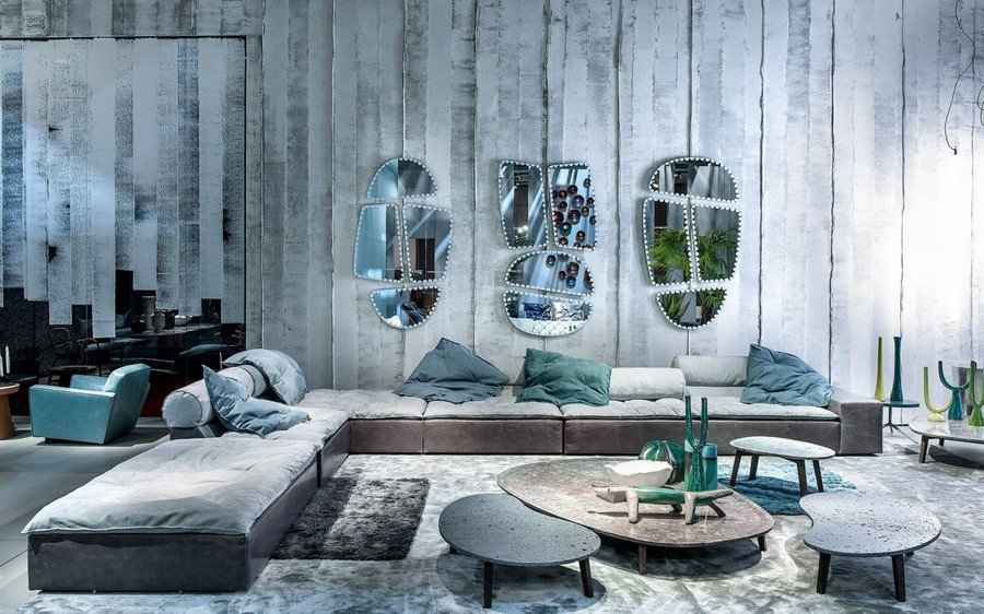 10-6-Baxter-new-collection-of-contemporary-style-furniture-at-Salone-de-Mobile-Exhibition-Milan-2017-gray-blue-corner-sofa-coffee-tables-throw-couch-pillows-asymmetrical-mirrors