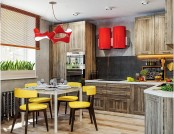 Dynamic One-Room Apartment Interior for Young People & Fans of Red