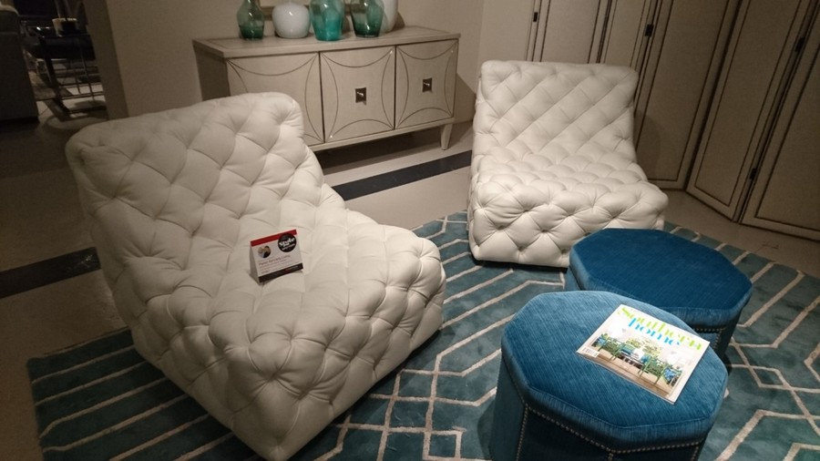 2-2-American-style-furniture-collection-2017-in-interior-design-High-Point-Market-Fair-Spring-2017-white-upholstered-capitone-arm-chairs-without-arm-rests-blue-velvet-padded-stools