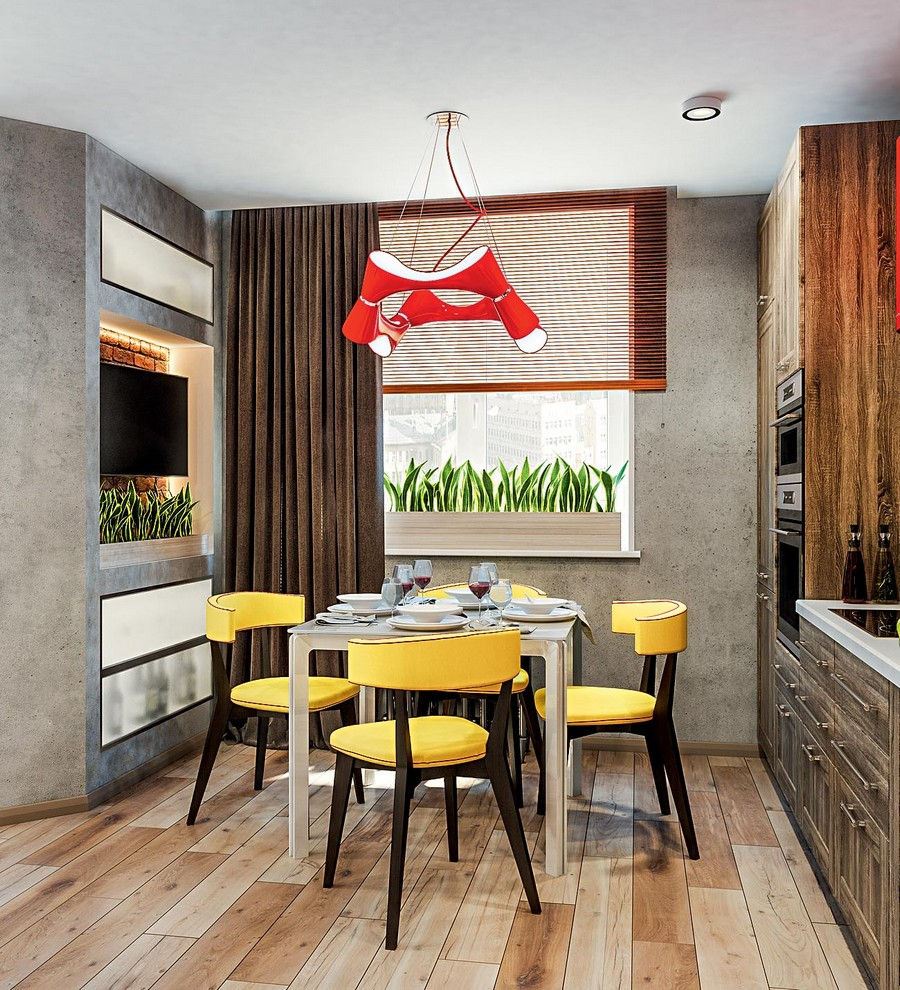 2-2-industrial-loft-style-bright-interior-design-with-red-and-yellow-accents-kitchen-rought-wood-cabinets-lamp-dining-table-chairs-wall-recess-TV-set-venetian-blinds-and-curtains-wooden-floor-spot-lights