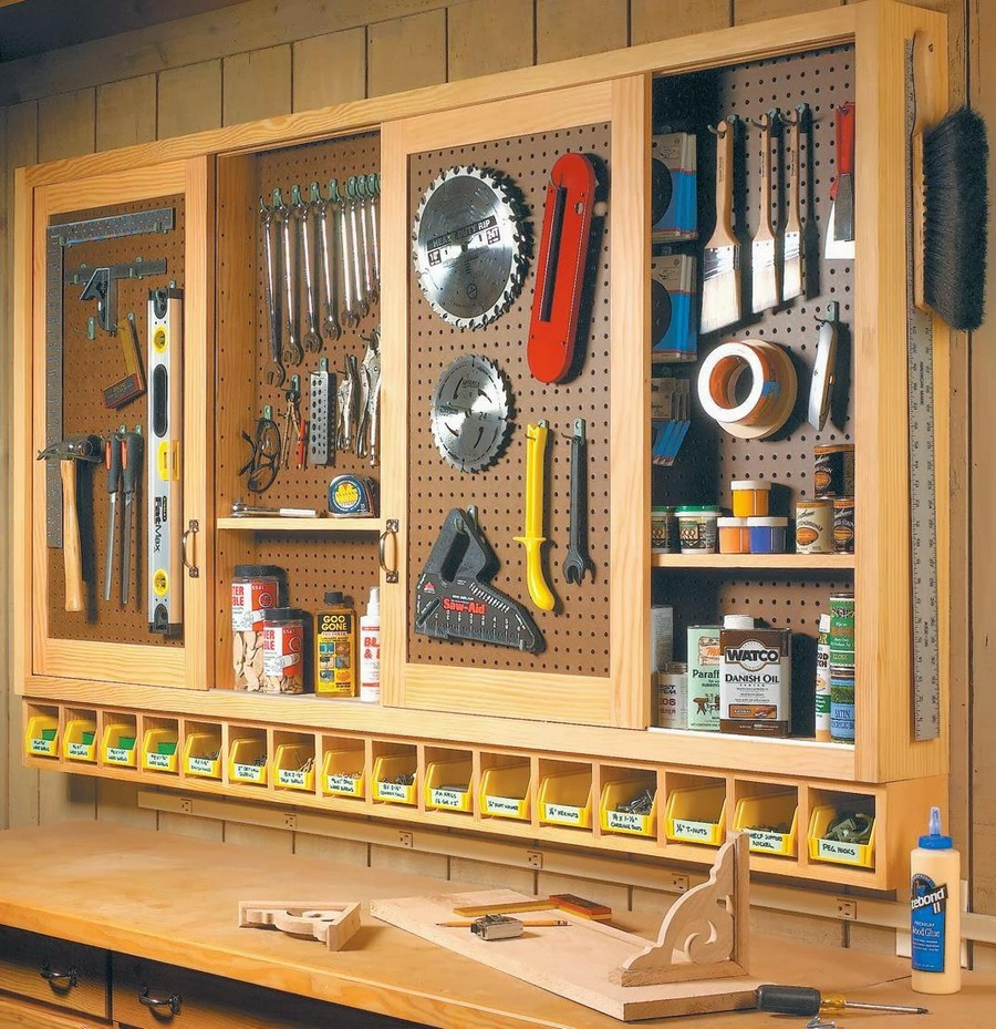 2-2-tidy-clean-garage-storage-ideas-open-racks-pegboard-perforated-metal-board-wall-labelled