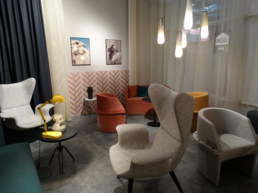 2-3-Diesel-new-collection-of-contemporary-style-furniture-at-Salone-de-Mobile-Exhibition-Milan-2017-gray-sofas-eared-arm-chairs-orange-yellow-blue-pillows