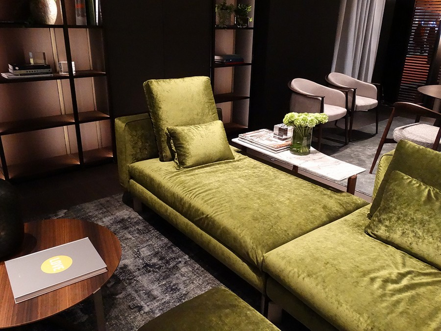 2-4-Flou-new-collection-of-contemporary-style-furniture-at-Salone-de-Mobile-Exhibition-Milan-2017-green-sofa-shelves