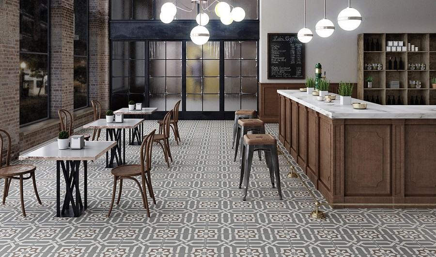 2-5-ceramic-tiles-floor-cafe-interior-design-floral-pattern-Apavisa-brand-collection-2017