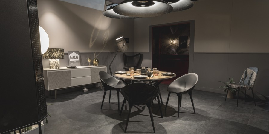 2-7-Diesel-new-collection-of-contemporary-style-furniture-at-Salone-de-Mobile-Exhibition-Milan-2017-gray-dining-table-chairs-set-console-table-big-ceiling-lamp