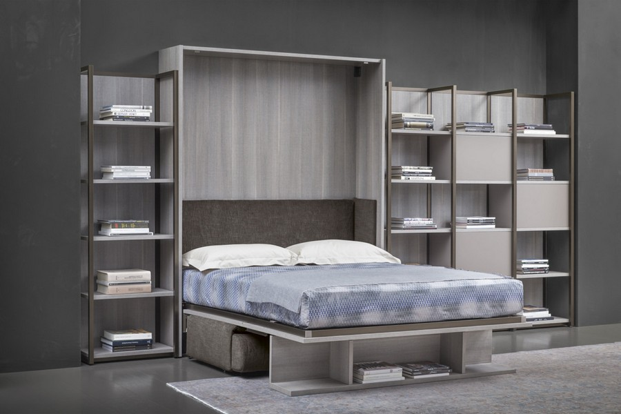2-7-Flou-new-collection-of-contemporary-style-furniture-at-Salone-de-Mobile-Exhibition-Milan-2017-bed-with-storage-cabinets-shelves-racks-around