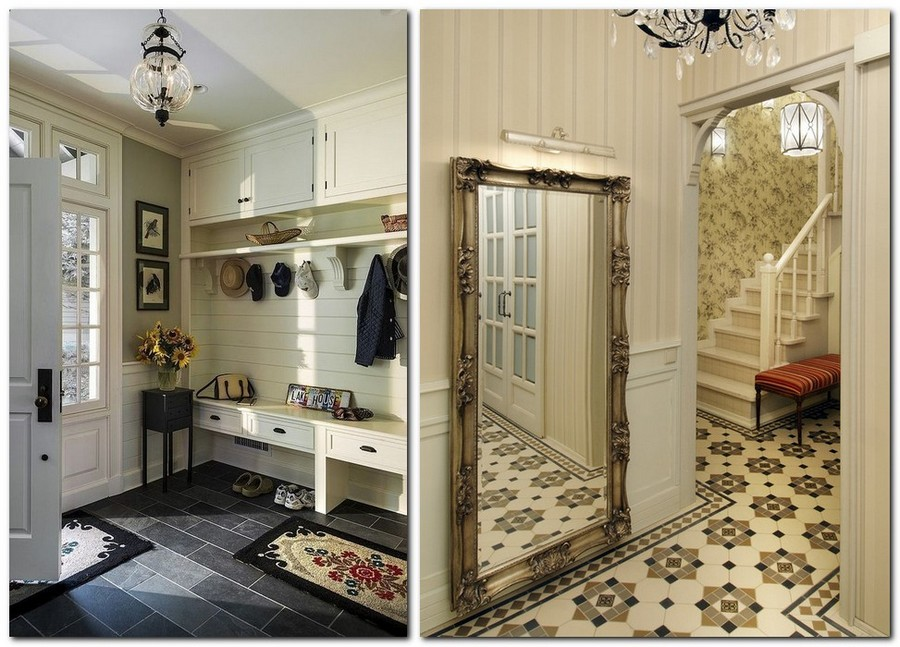 2-ceramic-tiles-floor-covering-in-hallway-interior-design-entry-white-furniture-hat-racks-ceiling-cabinets-console-tables-mat-big-full-length-mirror