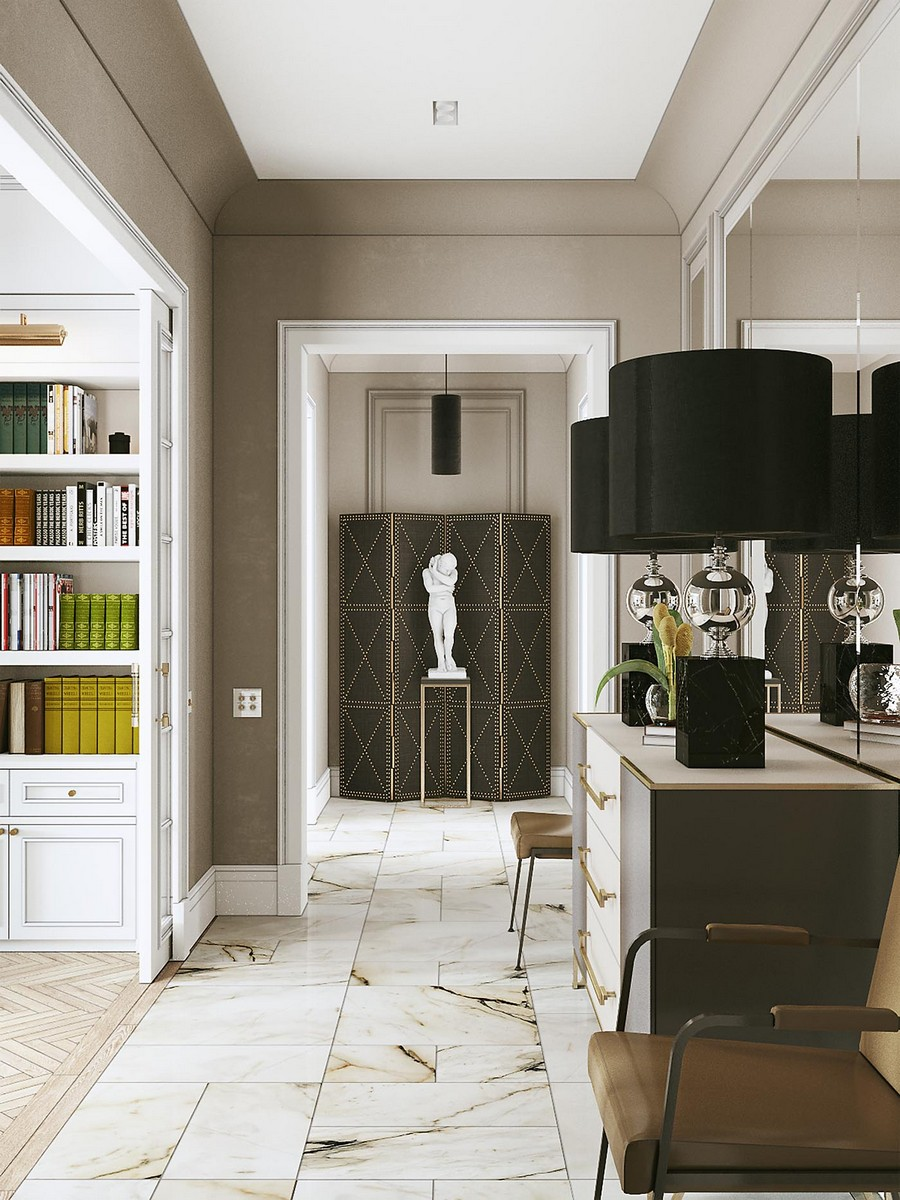 2-modern-neo-classical-style-interior-design-corridor-with-white-sculpture-in-the-end-black-background-console-table-chest-of-drawers-two-big-table-lamps-chairs-symmetrical-furniture-arrangement-bookshelves