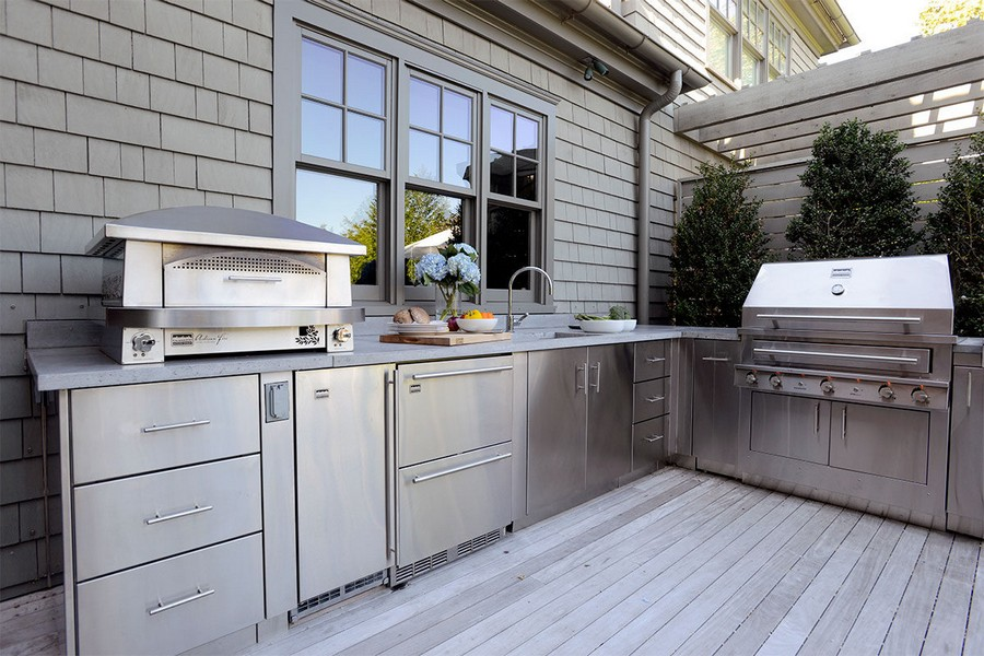 2-outdoor-summer-kitchen-interior-design-ideas-total-gray-set-metal-steel-cebinets-sink-oven-terrace-open