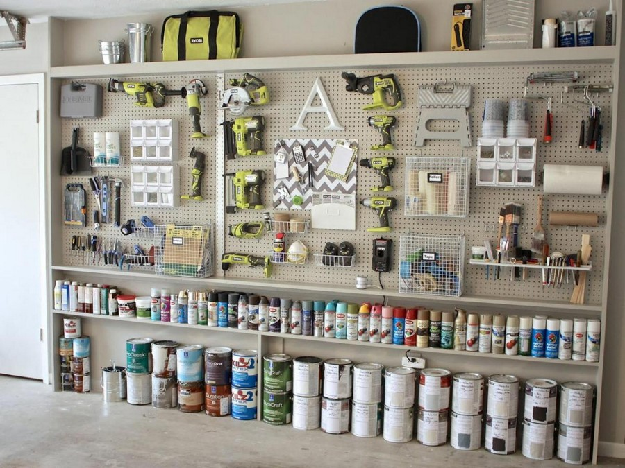 2-tidy-clean-garage-storage-ideas-open-racks-pegboard-perforated-metal-board-wall