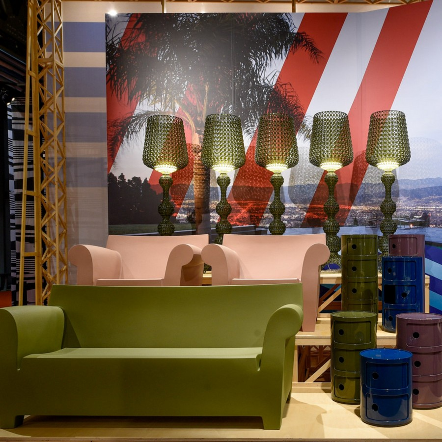 3-1-Kartell-new-collection-of-contemporary-style-furniture-at-Salone-de-Mobile-Exhibition-Milan-2017-greeb-sofa-lamps