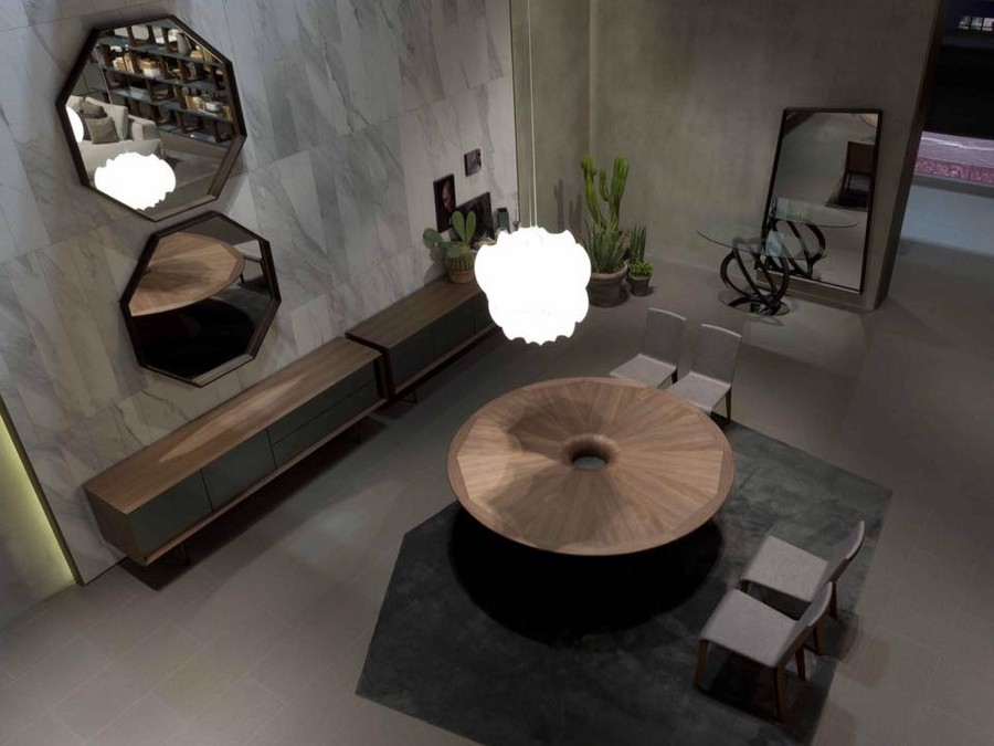 3-1-Porada-new-collection-of-contemporary-style-furniture-at-Salone-de-Mobile-Exhibition-Milan-2017-gray-walls-wooden-console-tables-round-dining-table-octagonal-mirror-frames-rug-full-length-mirror-chairs