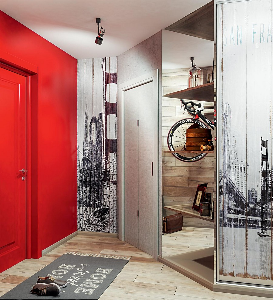 3-1-industrial-loft-style-bright-interior-design-with-red-and-yellow-accents-entry-hallway-red-wall-painted-door-angled-wall-mirrored-shelving-unit-black-and-white-wall-mural-door-mat-home-sweet-home-gray-track-ligh