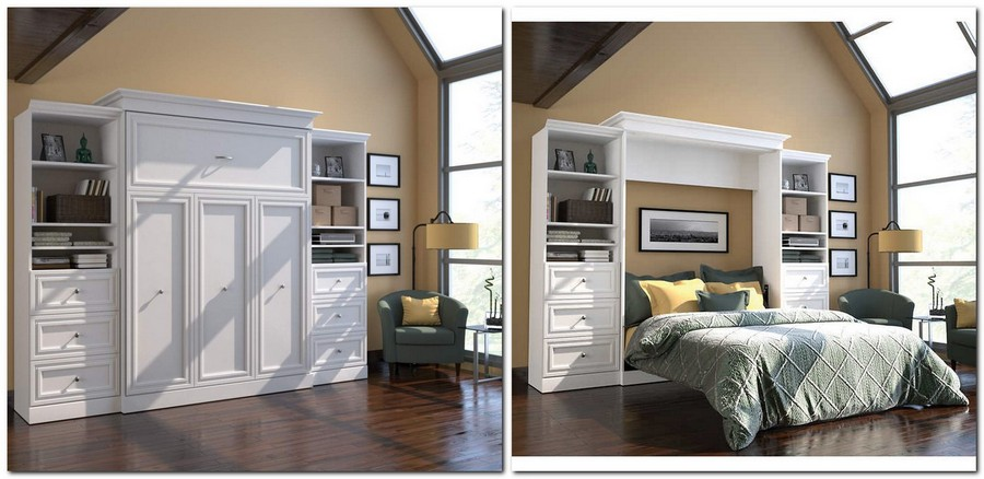3-4-wall-bed-pull-down-fold-down-convertible-folding-Murphy-bed-white-wardrobe-chest-of-drawers-bookshelves-in-interior-design-small-tight-space-one-room-apartment-ideas-studio
